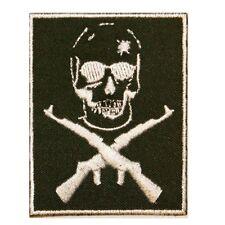 Skull Cross Rifles Iron On Badge Applique Patch KN 404B