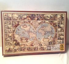 Vintage FX Schmid Jigsaw Puzzle 1983 Antique World Map 1500 Pcs WEST GERMANY New