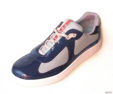NIB $570 men's PRADA navy blue gray silver red LOGO sneakers 9 US 10 - new model