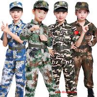 Kids Boys Girls Camo Costume Military Outfits Fancy Dress Uniform Army Party New