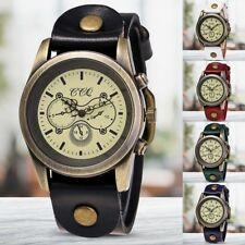 Vintage Women Men Punk Leather Band Watch Round Dial Quartz Bracelet Wrist Watch