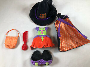 Fisher Price SNAP N STYLE Dolls Halloween Witch Costume Hat Cape Dress Bag Shoes