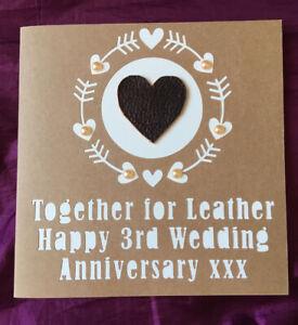 Handmade 3rd Wedding Anniversary Papercut Card. Real Leather Heart.