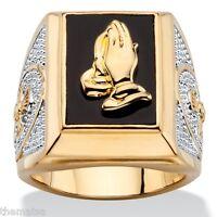 14K GOLD PRAYING HANDS EMERALD CUT ONYX MENS GP RING SIZE 8 9 10 11 12 13