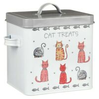 White Cat Treats Food Storage Container Holder Biscuits Barrel Tin Jar Lid Cats