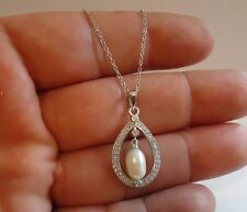 925 STERLING SILVER PEARL NECKLACE PENDANT W/ 6 X 10MM PEARL & 1 CT ACCENTS