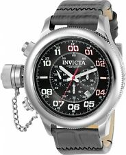 Invicta Men's 54mm Russian Diver Lefty Quartz Chronograph Leather Strap W  ,New