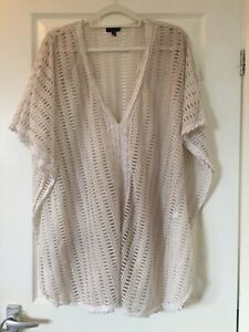 Topshop Cotton Beach Cover Up Kaftan Size Small Off White