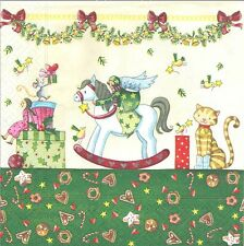 Lot de 4 Serviettes en papier Jouets Noël pour Decoupage Collage Decopatch