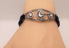 Natural Rose Cut Diamond Polki & Black Spinel Solid 925 Sterling Silver Bracelet