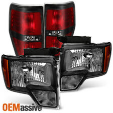 2009-2014 Ford F150 Pickup Truck Black Headlights + SVT Style Tail Lights Lamps