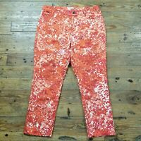 Coldwater Creek Womens Sz 10 Ankle Pants Splatter Print Casual Red Orange White