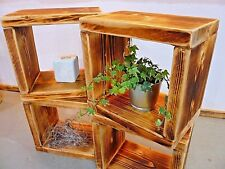 4x Regalwürfel Beistelltisch Regal Altholz Massivholz geflammt handgefertigt
