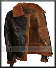 Mens Real Sheepskin Ginger Shearling RAF B3 Aviator Flying Leather Bomber Jacket