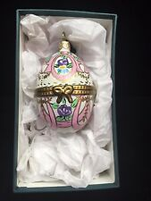 Rochard Holiday Collection Egg Ornament with Pink Ribbon