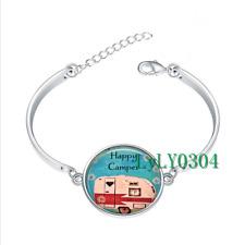 Happy Camper glass cabochon Tibet silver bangle bracelets wholesale