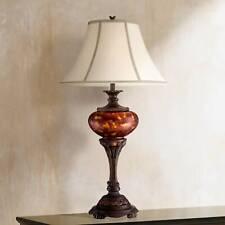 Traditional Table Lamp Bronze Metal Urn Tortoise Glass for Living Room Bedroom