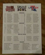 2015 NEW ORLEANS BOWL SCORECARD PROGRAM LA TECH ARKANSAS STATE KENNETH DIXON