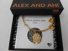 Alex and Ani LIVE A HAPPY LIFE Bracelet Shiny Gold New W/Tag Box & Card NEW 2017