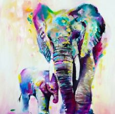 "Elephant Colourful Animal wall art printed on large canvas 30"" X 30"" pine frame"