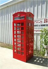 British Style Red Telephone Phone Box Booth Wood Old Replica English London