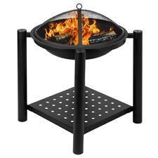 New listing Outdoor Fire Pit W/ Firewood Rack Steel Wood Burning Pit Fire Bowl Yard/Camping