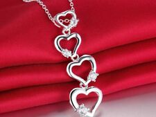 925 Sterling Silver Heart Long Statement Pendant Charm Necklace Clear Crystal