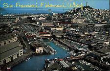 San Fransisco AK ~1960/70 Aerial View Fishermans Warf fishing fleet boats docks