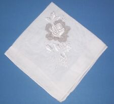 Vintage White Rose Embroidered Silver Sparkle Fancy Handkerchief