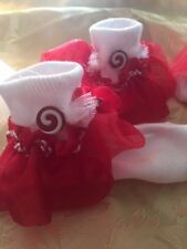 Girls 4-6 yr.white sock candy swirl w/red ruffle organza
