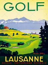 TRAVEL SPORT GOLF LAUSANNE SWISS RESORT ALPINE FAIRWAY ART PRINT POSTERBB7635B