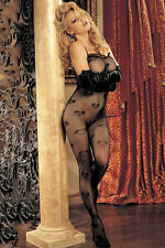 QUALITY Black LOVE HEARTS Net Bodysuit Tights Catsuit Bodystocking Lingerie