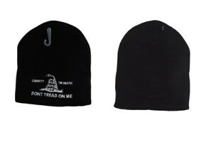 """Black Liberty or Death Don't Tread On Me White 8"""" Winter Beanie WIN982A (TOPW)"""