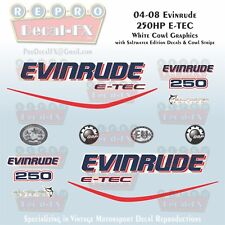 2004-08 Evinrude 250HP E-TEC WC Outboard 16Pc Decals for White Cowl Saltwater