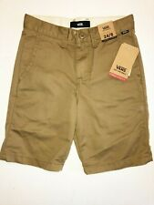 """Vans New Authentic Stretch 19"""" Shorts Boy's Size Youth 24/8 Brown"""