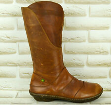 EL NATURALISTA Brown Leather Womens Mid-Calf Boots Zipped Sheos Size 5 UK 38 EU