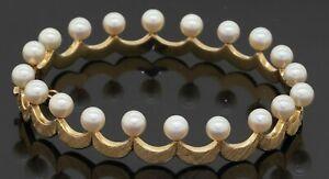 Vintage heavy 14K gold 5mm pearl crown florentine hinged bangle bracelet