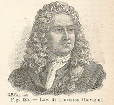 B1918 Jean Law de Lauriston - Incisione antica del 1928 - Engraving