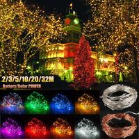 2-32M LED Guirlande Fil Cuivre Lumineuse Solaire/Batterie Noël Fée Décor Etanche
