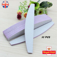 10Pc100/150/180/240 Double Nail Files Sided  Grit Grey Banana Curved Emery Board