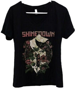 Shinedown Attention Attention World Tour T Shirt - V-Neck Women's XL New