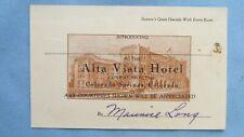 1900's Colorado Springs Colo. Alta Vista Hotel Hard Stock Introduction Card