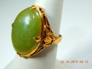 Antique Chinese 22K  gold Mid Apple Green Jade Ring Claw setting Cabochon stone