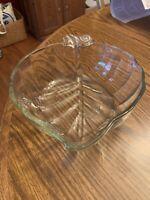 "Vintage Clear Glass Leaf Shaped Serving Bowl Fruit Candy Dish 8"""