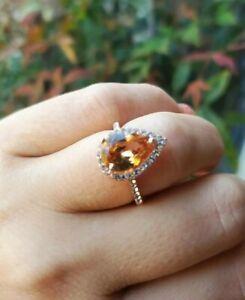 Morganite Engagement Promise Ring Rose Gold Filled 7 Pear Shaped Sim Diamond