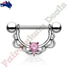Shield with Pink Cz Filigree Drop 316L Surgical Steel Silver Nipple Ring