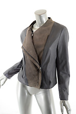 PURE DKNY Gray Muted Olive Leather Nubuck Double Zip Jacket  Sz M  Knit Inserts