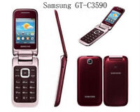 Original Samsung C3590 2MP Big Buttons Stylish Flip Unlocked 2.4 in Mobile Phone