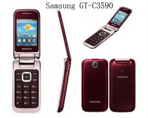 Original Unlocked Samsung C3590 2MP Big Buttons Stylish Flip Mobile Phone 2.4 in