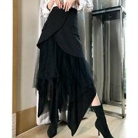 Fashion Womens Tutu Skirts Punk Gothic Lace Irregular Slim Fit Half Long Dress